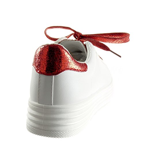 Angkorly - Zapatillas de Moda Deportivos Tennis zapatillas de plataforma low mujer piel de serpiente brillante brillantes Talón Plataforma 3.5 CM - Rojo