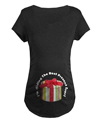 Casual Stampa Taglie Forti Shirt Cotone T Shirt Allentato Morbidi Corta T Maternity Pregnancy Donna Incinta Aivosen Moda Top Comoda Black141 Maglietta Manica a7WFZdqnap
