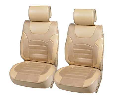 Integra Acura Vinyl - 180303 Tan-2 Front Car Seat Cover Cushions Leather Like Vinyl & Suede, Compatible to Acura ILX RDX TL TSX CL Integra Legend Vigor