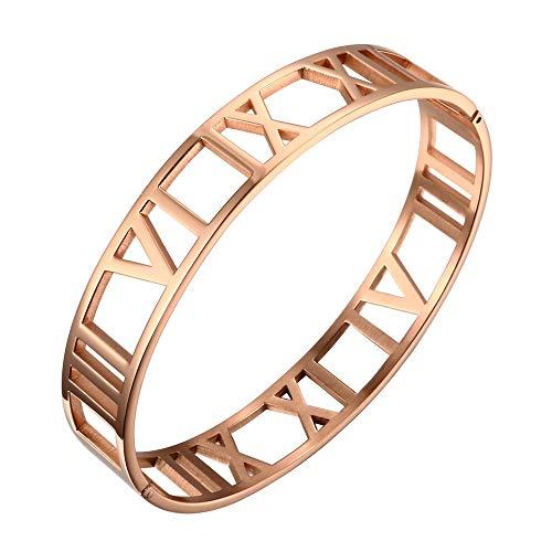 Designer Inspired Cuff Bracelet - Designer Inspired Titanium Steel Hollow Roman Numerals Wide Cuff Bracelet Unisex (Rose Gold)