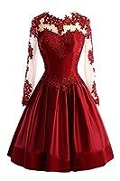 Little Star Satin Short Prom Dresses 2018 Juniors Long Sleeve Homecoming Ball Gown