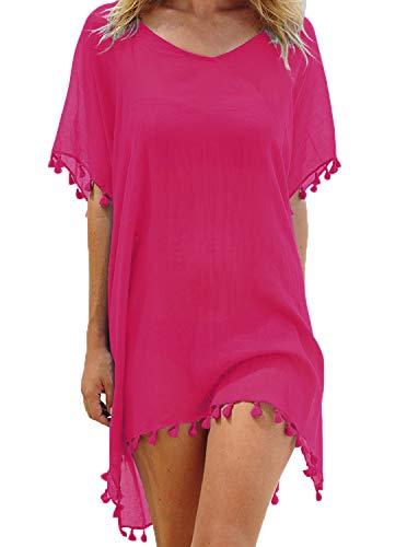 Adreamly Women's Stylish Chiffon Tassel Kaftan Swimsuit Beachwear Cover Up Free Size Rose Red (Cotton Suit Pink)
