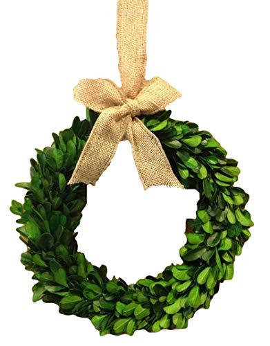 Preserved Boxwood Wreath W/Burlap Bow - 8