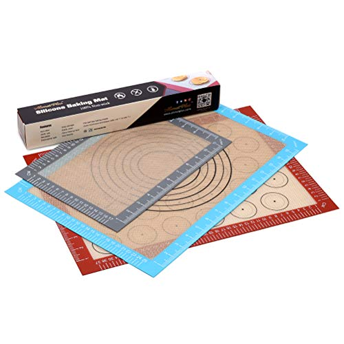 Silicone Baking Mat with Measurements - Set of 3 100% Non Stick Baking Mats, Pastry Mat & Macaroon Silicone Mat - Two Half and One Quarter Silicon Liner for Baking Pan, Dough Rolling ()