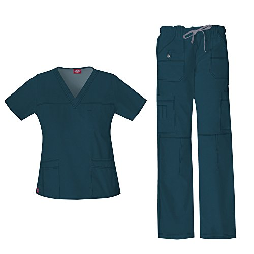 - Dickies Women's Gen Flex Junior Fit 'Youtility' Top 817455 & Low Rise Drawstring Cargo Pant 857455 Scrub Set (Caribbean - Small / Small Petite)