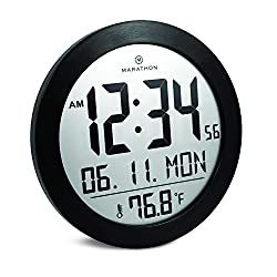 Marathon CL030069BS New 8.25 Inch Round Digital Wall Clock with Date and Indoor Temperature. Easy to Read Big 2.5 Inch Numbers. Fold-Out Table Stand and Batteries Included. (Black Stainless Finish)
