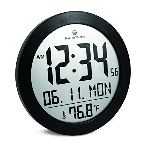Marathon CL030069BS Round Digital Wall Clock with Date and Indoor Temperature. Large 8.5 Inches Diameter with Fold-Out Table Stand and Batteries Included Black Stainless Finish