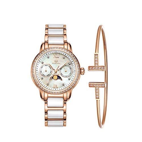 Ladies Quartz Moon Phase Watch Women -MAMONA Rose Gold White Ceramic and Stainless Steel Watch Gift Set 58010LRGT