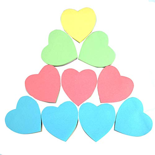 (Sticky Notes - Mixed Color Funny Memo Pad Sticker Note Pad for Teachers/Students/Home/Clerk/Assistant/Office/School 1000 Sheets-Heart Shape)