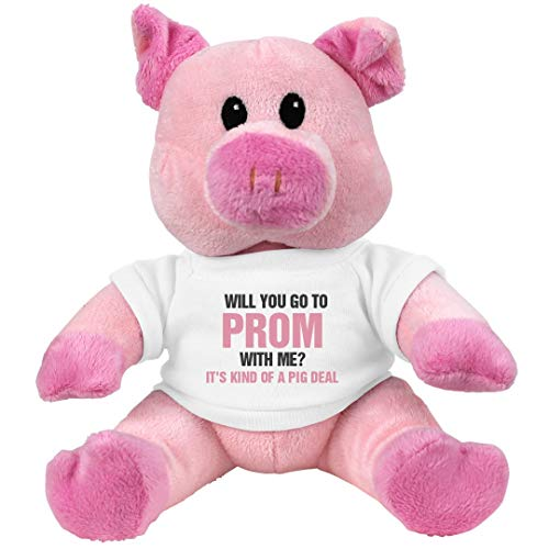 Customized Girl Go to Prom with Me Pig Deal: 7.5 Inch Pink Piggie Stuffed Animal