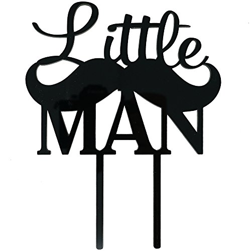 Little Man Mustache Cake Topper, Baby Boy Birthday, Baby Shower Decor (Gloss Black)]()