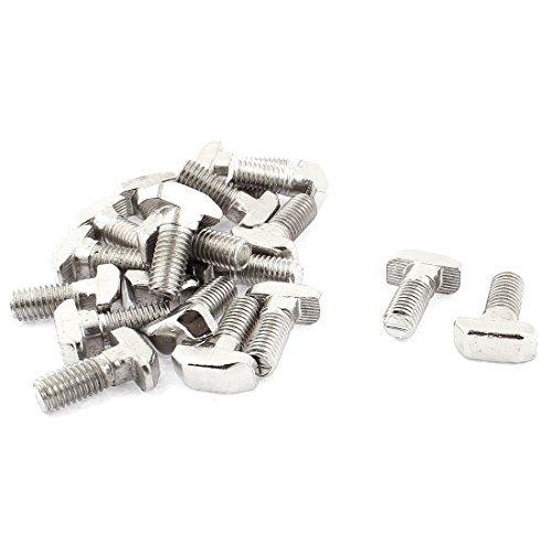 DealMux M8 x 20mm T-Slot gota en el Stud deslizante Tornillo de tornillo 20pcs tono de plata DLM-B01F515QQ6