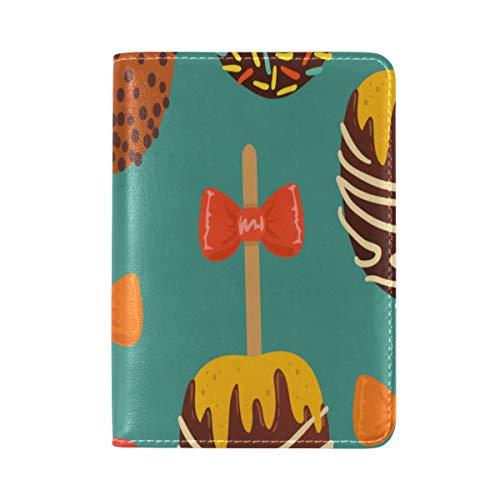 Passport Cover Case Round Lollipop Sweet Snack Color Leather&microfiber Multi Purpose Print Passport Holder Travel Wallet For Women&Men 5.51x3.94In ()