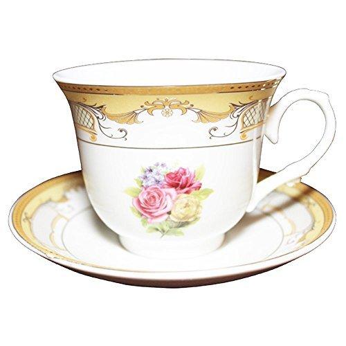 Set of 12 Gold Floral Design Tea Cup Saucer Set for 6 with Gift Box G903B-12 [Casabellagiftz]