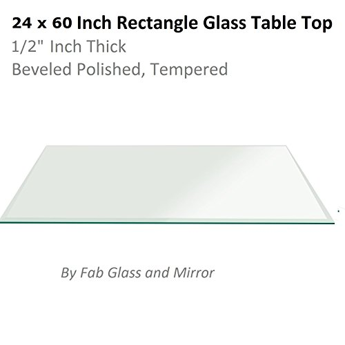Fab Glass and Mirror 1/2' Thick Beveled Tempered Radius Corners Rectangle Glass Table Top, 24' X 60'