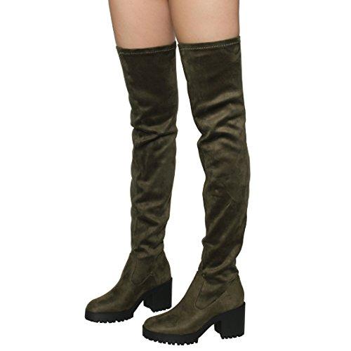 Besonon EJ05 Frauen Stretchy Snug Fit Plattform Oberschenkel Hohe Chunky Heel Stiefel Olivgrünes Wildleder