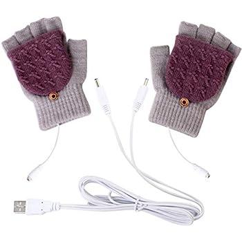 Unisex USB Heated Gloves, Winter Full & Half Fingers Warmer Laptop Gloves Mittens for Women Men Girls Boys- Best Winter Gift Choice (Light Gray + Purple)