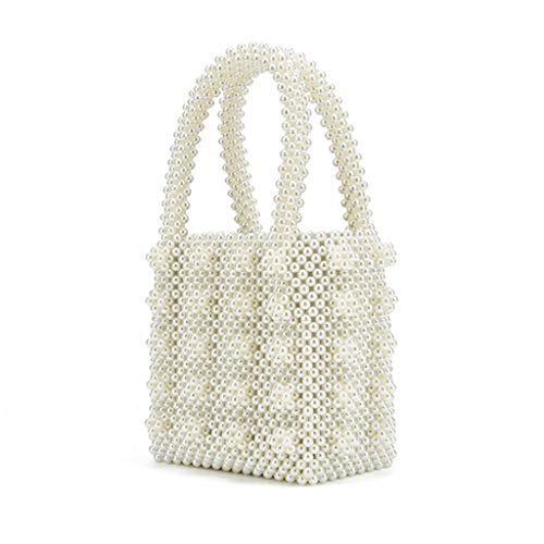 Boderier Womens Beaded Pearl Tote Bag Vintage Top Handle Handmade Faux Pearl Handbag Evening Bag for Women (Ivory)