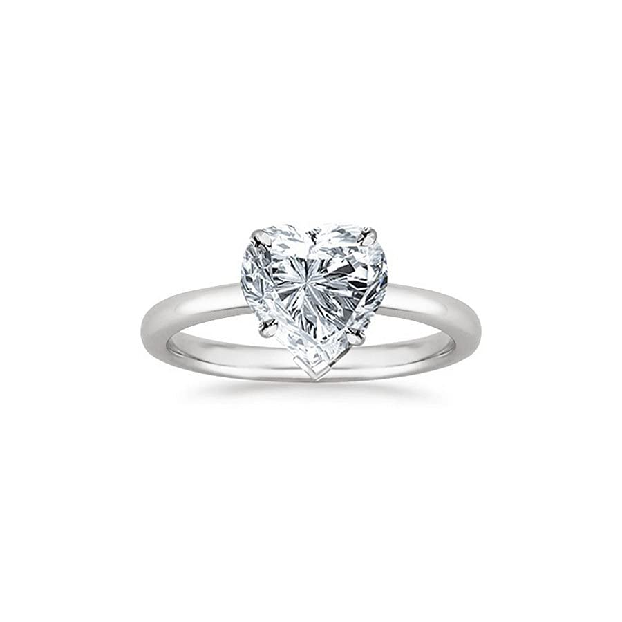 14K White Gold Heart Cut Solitaire Diamond Engagement Ring (0.50 Carat I Color VS2 Clarity)