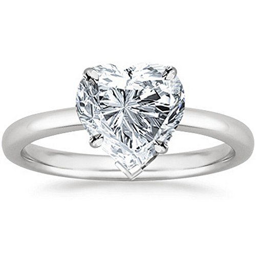 1/4 Carat 14K White Gold Heart Cut Solitaire Diamond Engagement Ring (0.25 Carat H I Color SI1 SI2 Clarity)
