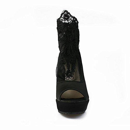 Latasa Wedges Summer Peep Women's Black Lace Toe Boots xRBxf