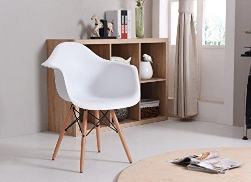 Hodedah Mid Century Modern, Molded Bucket Chair, White