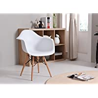 HODEDAH IMPORT HIC403 White Mid Century Modern Chair, Single