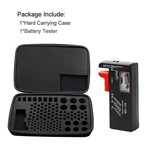 Come with D-FantiX Battery Tester BT-168. Oritys Battery Organizer Hard Storage Carrying Case, Holds Batteries D C 9V AA AAA Lithium 3V