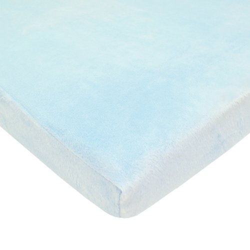 American Baby Company Fitted Portable/Mini-Crib Sheet, Heavenly Soft Chenille,Blue, for Boys and Girls