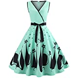 Women Cat Printed Dress Deep V Neck Sleeveless Evening Party Dress Swing Retro Green XXL