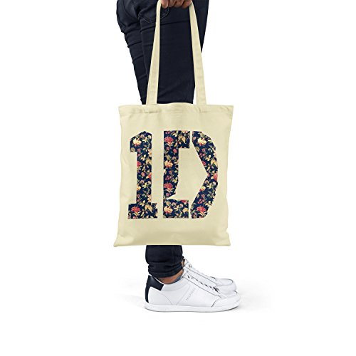 "Bolsa de tela ""One Direction Floral"" - tote bag shopping bag 100% algodón LaMAGLIERIA, Natural"