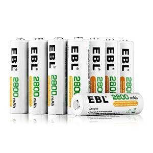 EBL 16-Pack AA 2800mAh High Capacity Rechargeable Batteries Ni-MH 1.2V 1200 Cycles(Battery Case Included)