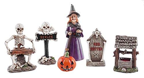 Spooky Village Mini Halloween Figurines Set of 6 (Mini Tombstones)