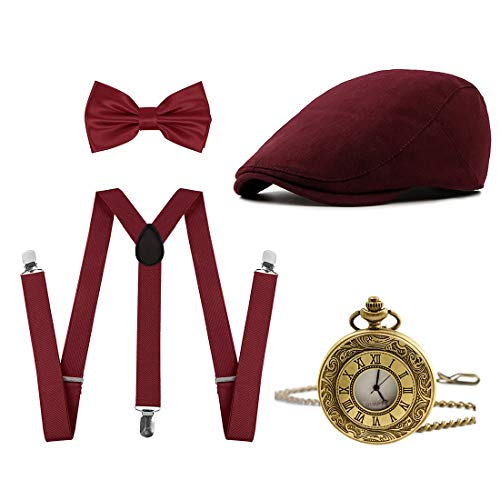 Ziyoot Men's 1920s Accessories Gatsby Gangster Costume Set Gangster Beret Y-Back Suspender (01 Pure Wine -