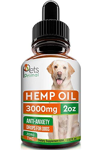 Pets Primal Hemp Oil for Dogs & Cats - 3000MG - 2oz - Hemp Extract Made in USA - 100% Organic Hemp Oil for Pets - Supports Hip & Joint Health, Natural Joint Pain Relief, Anti Anxiety - Omega 3, 6