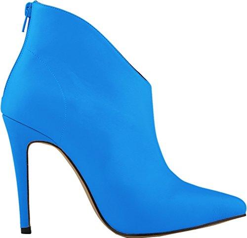 Abby 769-1 Donna Stivaletti Zip Stiletto Con Tacco A Punta Scarpe Da Uomo Autunno Inverno Lavoro Matrimonio Prom Scarpe Blu