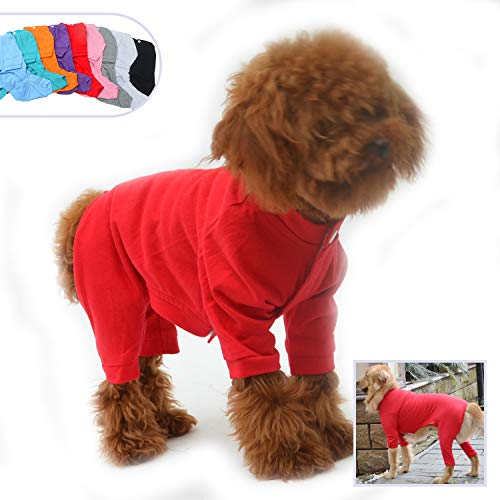 (Lovelonglong Four Feet Dog Lightweight Pajamas, Pure Cotton Dog Jumpsuits 4 Legs Dog Onesies T-Shirt Stylish PJS Puppy Costume for Large Medium Small Dogs Red XS)