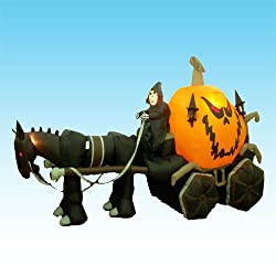 11.5 Foot Long Inflatable Grim Reaper Driving Pumpkin...