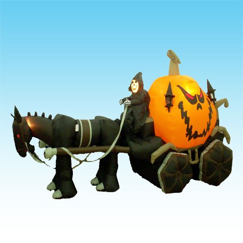 11.5 Foot Long Inflatable Grim Reaper Driving Pumpkin (Halloween Carriage)