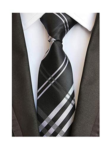 Elfeves Men's Modern Tartan Checks Plaid Style Formal Ties Woven Pattern Necktie (One Size, Black)