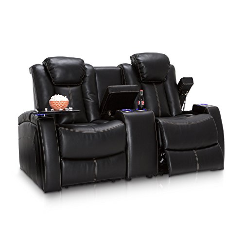 Seatcraft Omega Leather Gel Home Theater Seating Power Recline Loveseat with Adjustable Powered Headrests and Center Storage Console, Black (Gaming Entertainment Home Chair)