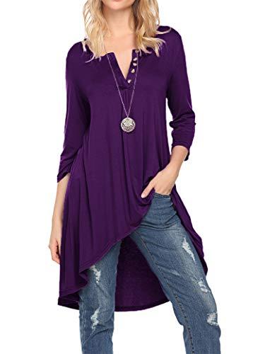 Naggoo Women's Half Sleeve High Low Loose Fit Casual Tunic Tops Tee Shirt Dress (3XL, Deep Purple)