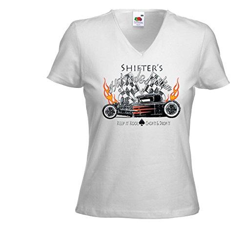 Hot Rod Damen T-Shirt Shifters weiß Rockabilly US V8 Rat Rod Vintage Gr.XXL
