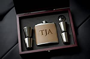 Personalized Leather Flask Wood Box Set- Custom Engraved Hip Flasks, Groomsmen Gift- Groomsman Whiskey Gifts For Men, Rustic Customized Brown Vegan Leather Wrapped #304 Steel 6 oz