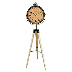 The Cape Cod Analog Floor Clock, Tripod Stand, Vintage Style, Distressed Wood, Rustic Gray White, Quartz Movement, Approximately 4 Ft Tall, By Whole House Worlds