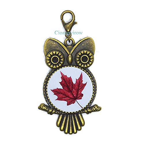 Maple Leaf Owl Zipper Pull,Maple Leaf Lobster Clasp,Maple Leaf,Wedding Jewelry,Grad Gift,Wedding Owl Zipper Pull,Maple Leaf,HO0E284 -