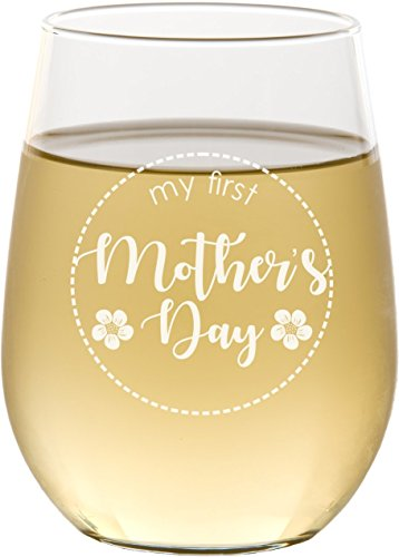 First Mother's Day Engraved Stemless Wine Glass, 17 oz White Wine Glass for Mom – SG21