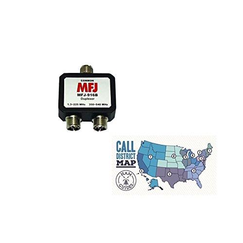 MFJ Duplexer: 1.3-225MHz/350-540MHz, UHF and Ham Guides TM Pocket Reference Card Bundle