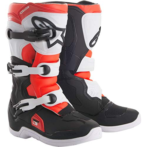 (Alpinestars 2018 Youth Tech-3S Boots (6) (BLACK/WHITE/FLO RED))