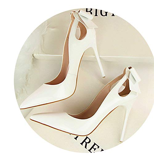 elepbaba Patent Leather Shallow Women Pumps Sexy Cut-Outs Bowtie Pointed Toe High Heels 10cm Shoes White